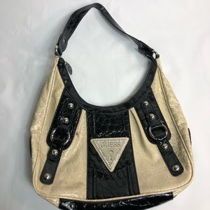 Guess purse black and cream patent leather